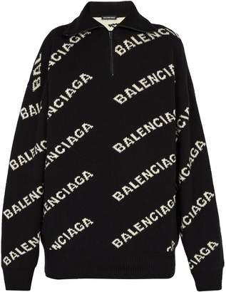Balenciaga Intarsia-logo half-zip sweater