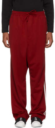 Y-3 Red Logo 3-Stripes Wide Lounge Pants