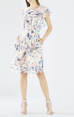 BCBGMAXAZRIA Shelia Flutter Sleeve Printed Poncho Dress