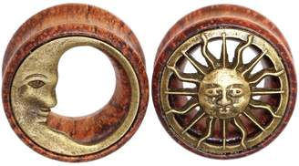 "Oasis Plus 20mm 3/4"" Tribal Sun & Moon Organic Wood Flesh Tunnels Double Flared Ear Stretcher Saddle Plugs Gauge"