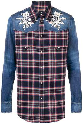 DSQUARED2 denim-panelled plaid shirt