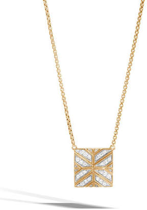 John Hardy Modern Chain 18K Gold Square Pendant Necklace with Diamonds