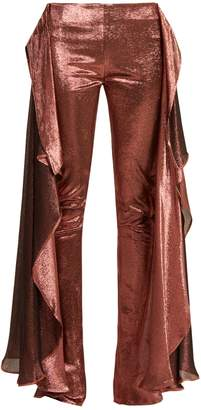 PAULA KNORR Relief high-rise ruffled silk-blend lamé trousers