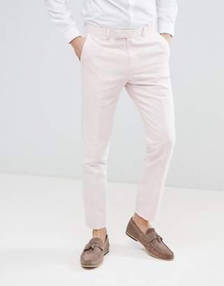 Moss Bros wedding skinny suit pants in light pink linen