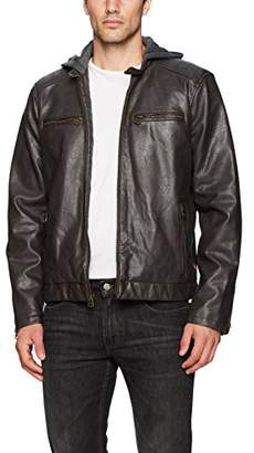 Levi's Men's Vintage Pebbled Cow Faux Leather Classic Racer with Hood