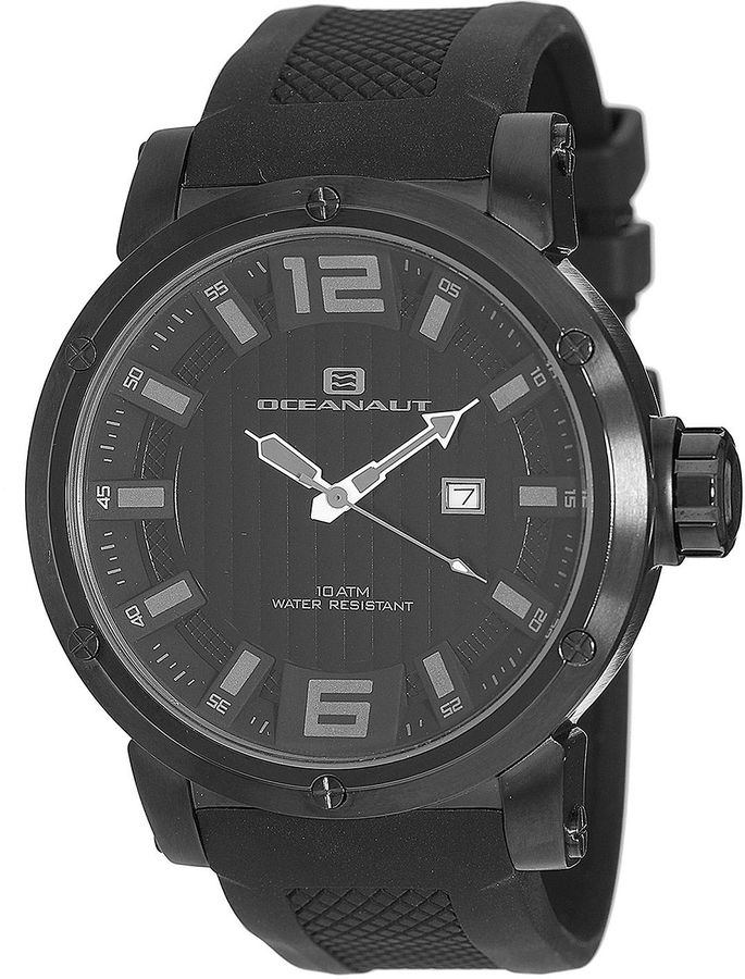 OCEANAUT Oceanaut Mens Spider All-Black Silicon Strap Watch