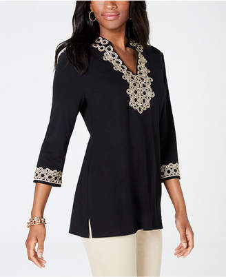 Charter Club Lace-Trim Tunic Top