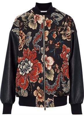 Stella McCartney Faux Leather-Paneled Floral-Jacquard Bomber Jacket