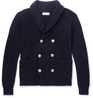 Brunello Cucinelli Shawl-Collar Double-Breasted Ribbed Cashmere Cardigan - Men - Navy