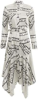 Ganni Silk Stretch Satin Egret Print Midi Dress