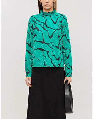 Gestuz Aylin high-neck ripple-print satin-crepe blouse