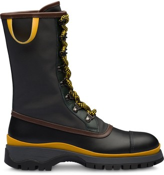 Prada bi-material lace-up boots