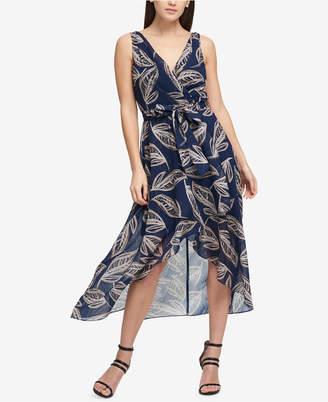 DKNY Textured Chiffon Wrap Dress