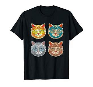 Cool Cat Faces Artistic Illustration Graphic Tee Shirt