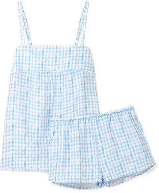 Three J NYC Jolie Checked Silk Pajama Set - Blue