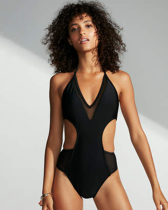 Express Mesh Ultra Cut-Out One-Piece Swimsuit
