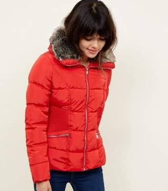 New Look Red Faux-Fur Collar Cinched Waist Puffer Jacket