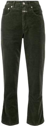 Closed high-waisted corduroy trousers