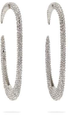 Saint Laurent Crystal Embellished Hoop Earrings - Womens - Silver