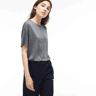 Lacoste Women's Relaxed Fit Crew Neck Flowing Jersey T-Shirt