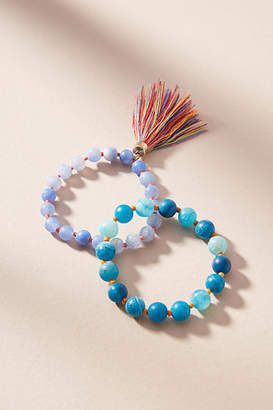 Anthropologie Tasseled Bead Bracelet Set