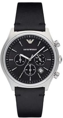 Emporio Armani Chronograph Dress Zeta Leather Strap Watch