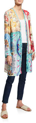 Johnny Was Plus Size Isabel Mixed-Print Button-Front Long Cardigan