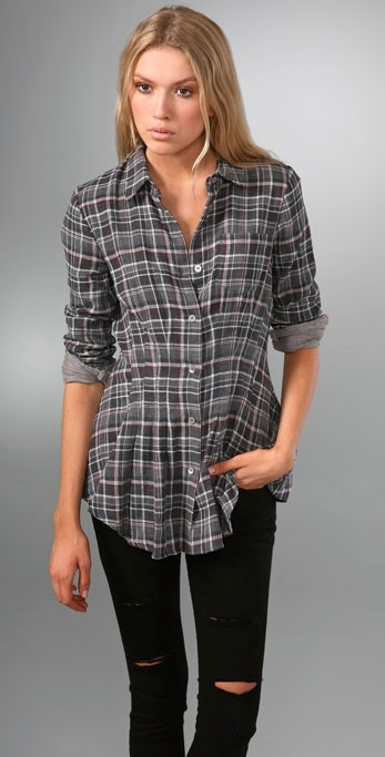 Opening Ceremony Pin-Tuck Plaid Button Down