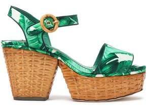 Dolce & Gabbana Printed Silk-Blend Satin Platform Sandals