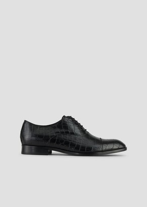Emporio Armani Derby In Crocodile Print Leather