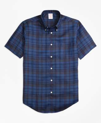 Brooks Brothers Madison Fit Plaid Irish Linen Short-Sleeve Sport Shirt