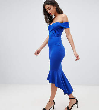 John Zack Tall Off Shoulder Ruffle Midi Dress