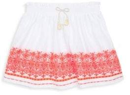Lili Gaufrette Toddler's& Little Girl's White Skirt With Orange Trim