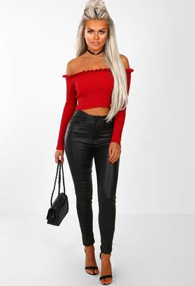 5fc5df61e84377 Pink Boutique PS I Love You Red Bardot Frill Ribbed Crop Top