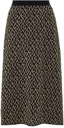 Gucci G wool-blend jacquard midi skirt