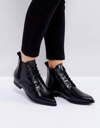 Intentionally Blank Brad Black Lace Up Ankle Boots