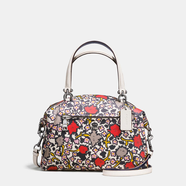 Coach  COACH Coach Prairie Satchel In Polished Pebble Leather With Floral Print