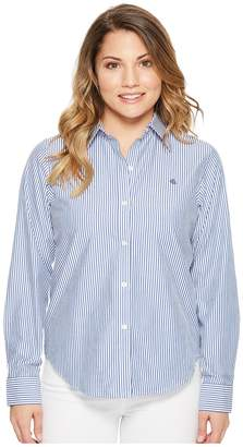 Lauren Ralph Lauren Petite Striped Cotton Shirt Women's Clothing