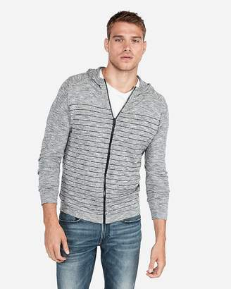 Express Striped Full Zip Hooded Sweater