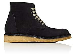 Rick Owens Men's Crepe-Sole Reverse-Leather Boots-Black
