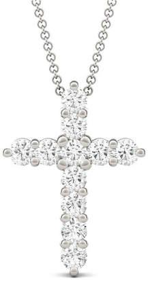 Charles & Colvard Moissanite Cross Pendant (1-1/10 ct. t.w. Diamond Equivalent) in 14k White Gold