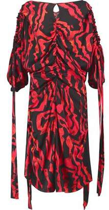 Ellery Kabukimono Cold-Shoulder Ruched Printed Silk-Blend Midi Dress