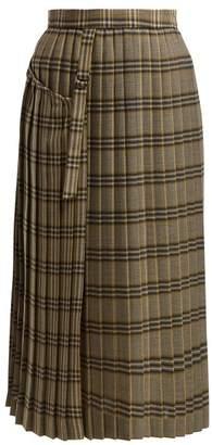 Joseph Beck Tartan Wool Kilt Skirt - Womens - Grey