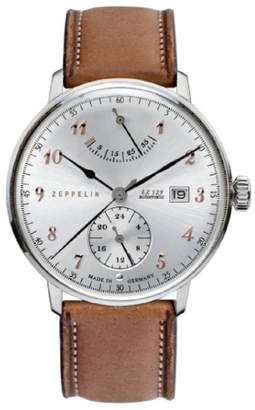 Zeppelin LZ129 Hindenburg Silver Dial Brown Leather Band Men's Watch 7062-5