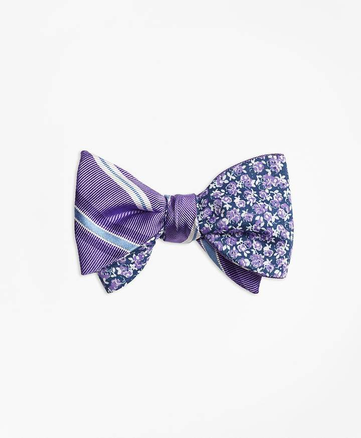 Brooks Brothers  Alternating Split Stripe with Mini Rose Reversible Bow Tie