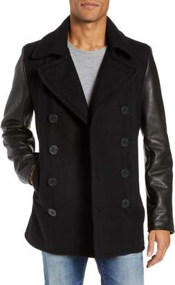 Schott NYC Wool Blend Peacoat with Leather Sleeves