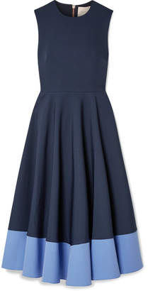 Roksanda Athena Pleated Two-tone Crepe Midi Dress - Navy