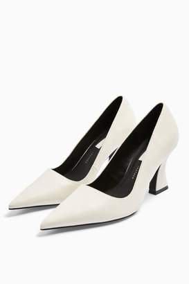 Topshop GOLDEN Leather White Flared Heel Shoes