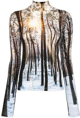 R 13 forest print turtleneck top