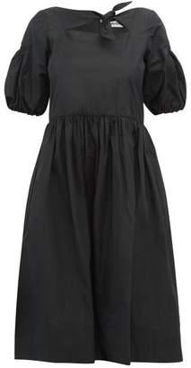 Molly Goddard Veronica Cut Out Taffeta Midi Dress - Womens - Black